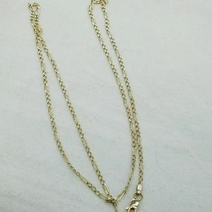 Solid 14K Gold Figaro Chain Real Gold Necklace